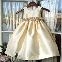 Kids Dream Little Girls Dark Ivory Taffeta Sheer Ribbon Dress 18M