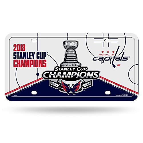 Plate License Champions Frame Metal (Rico Industries NHL Washington Capitals 2018 Stanley Cup Champions Metal License Plate Tag)