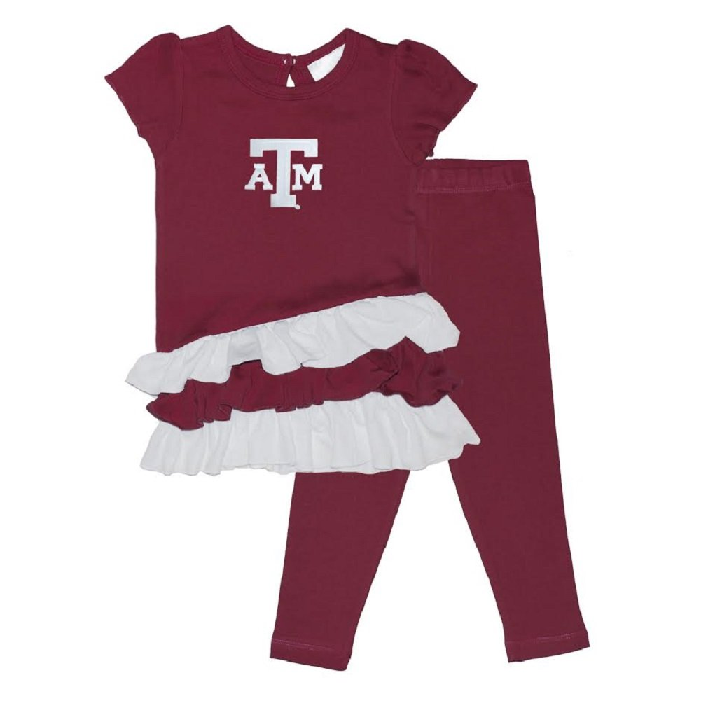 Two Feet Ahead Girls Texas A/&M Bias Ruffle Dress /& Leggings