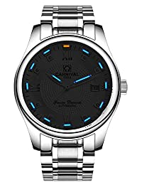 Gosasa Mens Business Tritium Luminous Military Watch Automatic Mechanical Sapphire Silver Steel Bracelet Watches