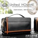 United HOMME クロスライン×馬革 ダブルファスナーセカンドバッグ (オレンジ)