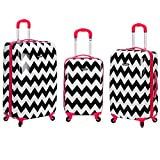 Pink Trim Girls Chevron Pattern Rolling Upright Spinner 3-Piece Luggage Set, All Over Colorful Horizontal Stripe Themed Suitcase, Stylish Travel Bag with Wheels, Fashionable, Lightweight