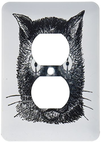 3dRose LSP 194697_ 6impresión de divertido gato cara dibujo estilo Steampunk 2enchufe Outlet Cover