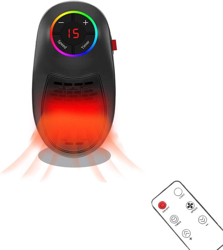 Calentador Electrico, Calefactor Baño, Mini Ventilador de Calefacción, Estufa Eléctrica Portatil Con La Pantalla LED Digital Ajustable para Habitación Pequeña (Lámpara de siete colores)