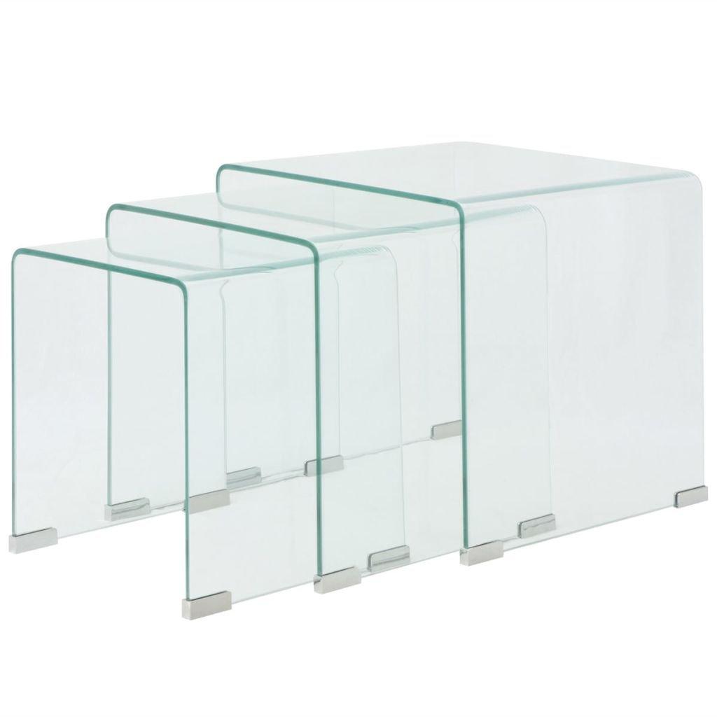 vidaXL 3 Pezzi. TS-ideen - Set tavolino da caffè in Vetro temprato