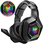 DIZA100 Gaming Headset 3.5mm Surround Stereo Gaming Headphones with Microphone RGB Marquee Light & Adjusta