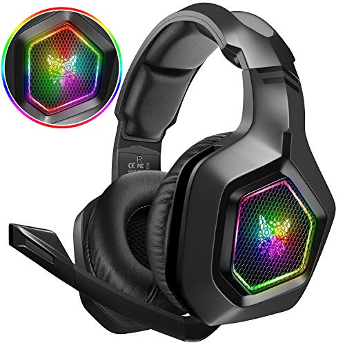 DIZA100 Gaming headset for PS4, PS5, Surround Stereo 3.5mm Gaming Headphones with Mic and RGB Rainbow Light for Xbox One…