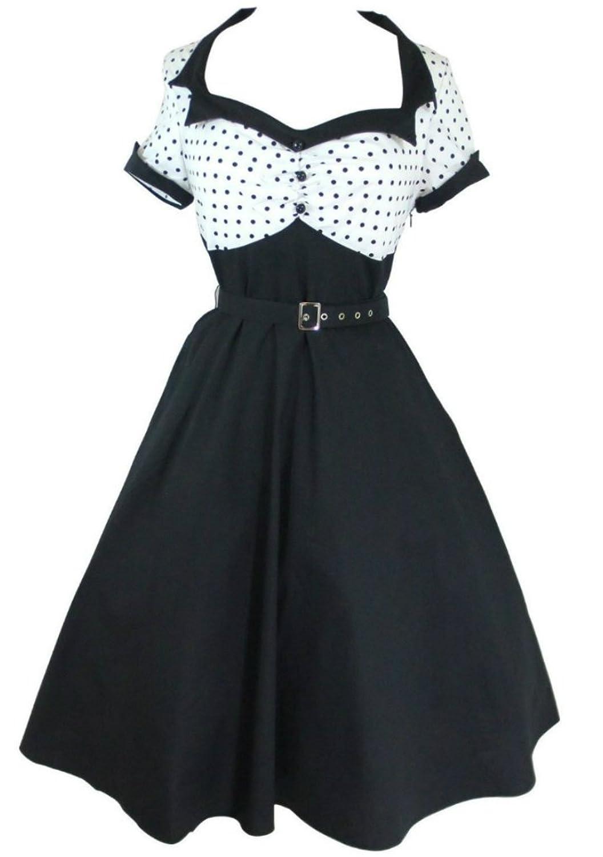 Modern Grease Rachel 50's Flare White Black Polka Dot Dress