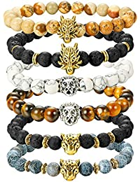6PCS Mens Bead Bracelets Set Dragon/Lion/Panther Charm...