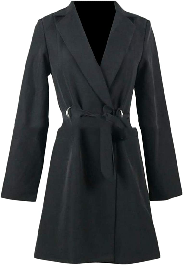 JSY Women Fashion Tailored Collar Knotted Mid Length V-Neck Long Sleeve Coat Blazer Suit Jacket
