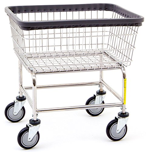Carts Basket Wire - R&B Wire 100E Standard Wire Laundry Cart, 2.5 Bushel, Chrome