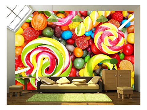 - wall26 - Different Fruit Candies Background - Removable Wall Mural | Self-Adhesive Large Wallpaper - 100x144 inches