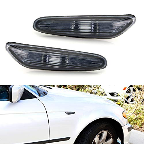 - iJDMTOY Euro Smoked Lens Front Fender Side Marker Lamps Housings For BMW 1 3 5 Series, etc, Replace OEM Amber/Clear Sidemarker Lamps