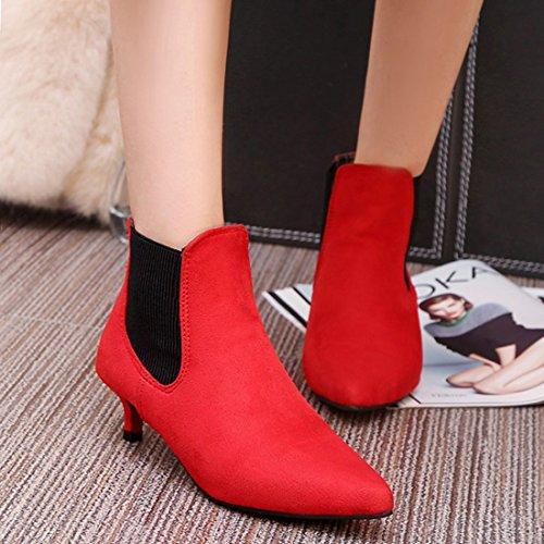 Nubuck Boots Women's Shoes Slip Leather Pointed Ankle Toe Artfaerie Heel Red Court Elegant On Kitten XU1Rw
