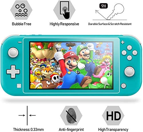 Hestia Goods Clear Case for Nintendo Switch Lite Protective , with 2-Pack Switch Lite Tempered Screen Protector and six Pcs Cult Thumb Grips, Grip Cover with Shock-Absorption and Anti-Scratch, HD Clear