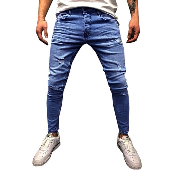 f2db3d8b0e Elecenty Jeans da uomo,Pantaloni di jeans stampati aderenti ...
