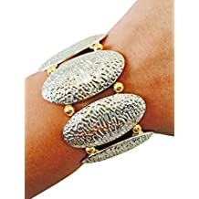 Silver, Gold or Two-tone Stretch Textured Metal Bracelet - Versatile, Dress it Up or Down - 7 inches