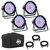 American DJ Mega Flat Pak Plus | New LED par package which features 4 x Mega Par Profile PLUS, 3 x dmx connector cable, 1 x soft pack carrying case to protect par system