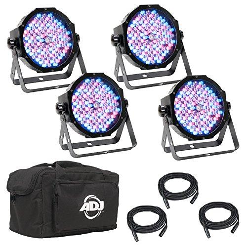 American DJ Mega Flat Pak Plus | New LED par package which features 4 x Mega Par Profile PLUS, 3 x dmx connector cable, 1 x soft pack carrying case to protect par system by American DJ