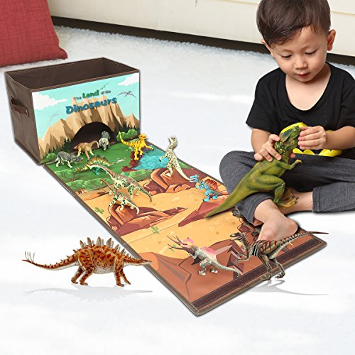 Livememory Dinosaurs Kids Toy Storage Box Play Mat Toys Storage Bin (Not Included Dinosaurs)-Brown]()