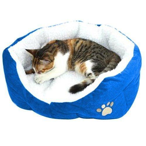 MFEIR Cama Gato Nido para Mascotas Cama de Perro Cálido Nido Algodón,azul,pequeña