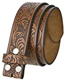Western Tooled Leather Belt Strap w/Snaps for Interchangeable Buckles 1 1/2' Wide (Brown, 42)