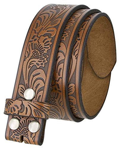 """Western Tooled Leather Belt Strap w/Snaps for Interchangeable Buckles 1 1/2"""" Wide (Brown, 32)"""
