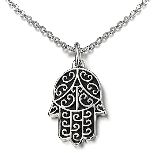 Womens Fatima Pendant Necklace Stainless