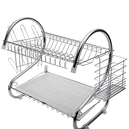 ROVSUN Dish Drainer, 2-Tier Deluxe Drying Rack with Cup Hold