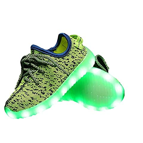 LES TRICOT High Top Led Light Up Shoes 11 Colors Flashing Rechargeable Sneakers for Girls Boys Green (All Start 560)