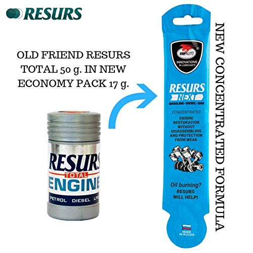 Resurs Next Concentrate 17 g. New Formula Of Old Friend Resurs Total 50 g. New Concentrated Formula Resurs Next Concentrate 17 g. More Profitable Than Oil Additive Resurs Total 50 g