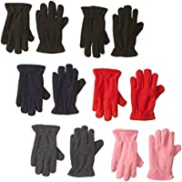Toddler / Kids Soft And Warm Fleece Lined Gloves 6-Pack
