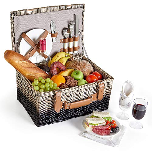 VonShef Picnic Basket for 2 - Wicker Two Tone Herringbone Picnic Basket Set - Stainless Steel Cutlery, Plates, Salt & Pepper Shakers, Wine Glasses, Bottle Opener, Cotton - Wicker Tone Two
