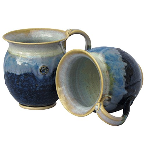 (Handmade Irish Coffee & Tea Mugs. Set of Two Blue Hand-Thrown Cups 300ml)