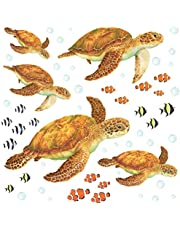 DECOWALL DWL-2011 Sea Turtles Wall Stickers Wall Decals Peel and Stick Removable Wall Stickers for Kids Nursery Bedroom Living Room