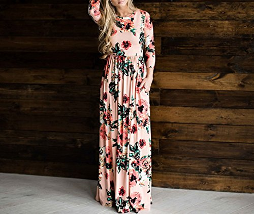 3 Pink Neck Bewish 4 Long Sleeve Womens Casual Floral Dress Round Printed qRqpnwOxtP