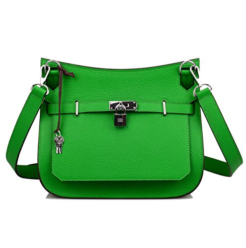 Bag Bamboo Hardware Genuine Padlock Satchel With Women's Ainifeel Silver Green Messenger Leather BnvXwUf