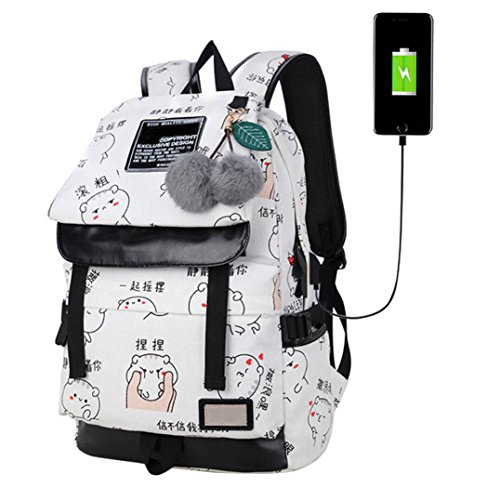 College School Bookbag For Women,Laptop Backpack,Anti-Theft Business Slim Computer Bag with USB Charging Port, Lightweight Travel Bag (White) by G&Kshop