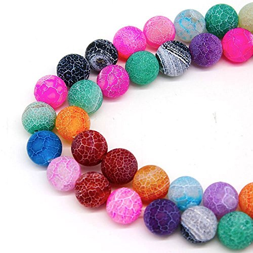 Semi Agate Precious - 8mm Multicolor Frosted Crackle Dragon Vein Agate Beads Round Semi Precious Gemstone Loose Beads for Jewelry Making (47-50pcs/strand)