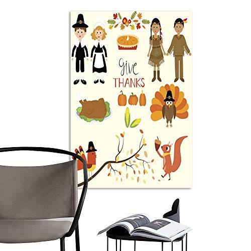 UHOO Art Painting Home ModernHappy Thanks Giving with Pilgrim and red Indian Costume Children.jpg Perfect Contemporary Art Paintings for The Wall Without a frameDue 32