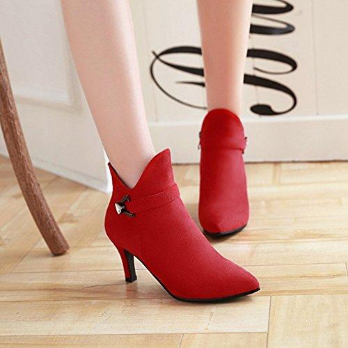 Damen Zehen Kitten Riemchen Strass mit Heels Spitz Elegant Rot Stiefel Kurzschaft Reissverschluss Aisun Hqdnw1gg