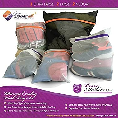 Lingerie Bag Set - 5 Mesh Laundry Bags: Super Heavy Duty Wash Sacks for Extra Large Cloth & Garment Washing - 2 Zipper Colors for Easy Delicates or Bra Sorting - Highest Quality - Black & White