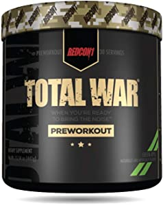 Redcon1 Total War - Pre Workout, 30 Servings, Boost Energy, Increase Endurance and Focus, Beta-Alanine, Caffeine (Green Apple)