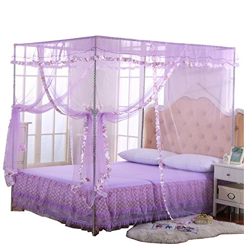 (JQWUPUP Mosquito Net for Bed - 4 Corner Canopy for Beds, Canopy Bed Curtains, Bed Canopy for Girls Kids Toddlers Crib, Bedroom Decor (Twin Size, Purple))