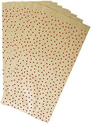 Clairefontaine 394106C 11 x 21 cuori rossi Confezione da 50 buste di carta regalo Kraft 5 cm
