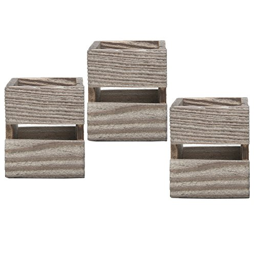 MyGift Set of 3 Crate Design Pen & Pencil Holders, Wood Office Desk Storage Boxes by MyGift (Image #4)