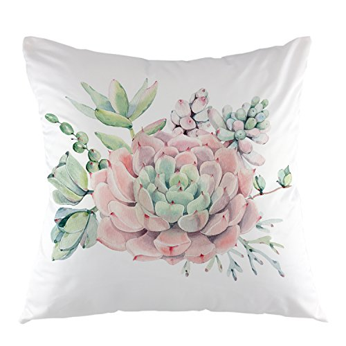 "oFloral Flower Decorative Throw Pillow Cover Plant Leaves Pillow Case Square Cushion Cover 18""X18"" Pink Green"