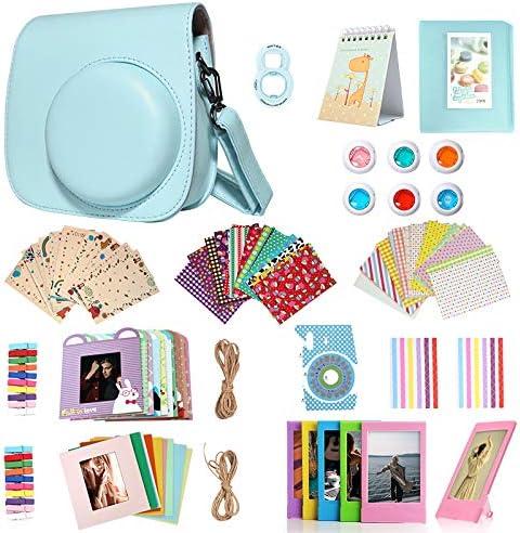 Homesuit 14in1 Accessoires Kit Voor Fujifilm Instax Mini 988 Inclusief CaseAlbumSelfie LensFiltersFilm FramesWandopknoping FrameBorder StickersCorner StickersFilm Kalender Ice Blue