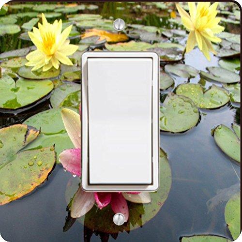 Yellow Waterlilly Light (Rikki Knight 9200 Single Rocker Pink & Yellow Waterlillies Gorgeous Colors Design Light Switch Plate)