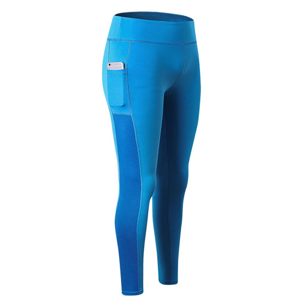 Women High Compression Yoga Pants Out Pocket Running Pants High Waist Legging Blue